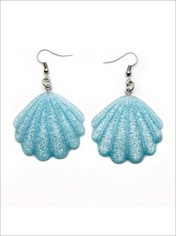 Girls Glittery Mermaid Seashell Earrings - Blue - Accessories