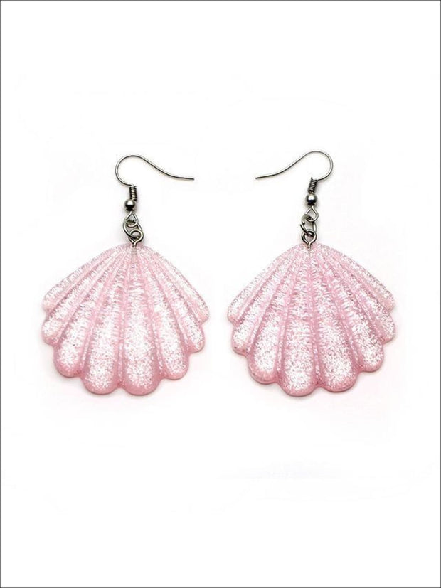 Girls Glittery Mermaid Seashell Earrings - Pink - Accessories