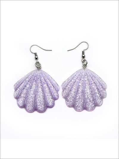 Girls Glittery Mermaid Seashell Earrings - Purple - Accessories