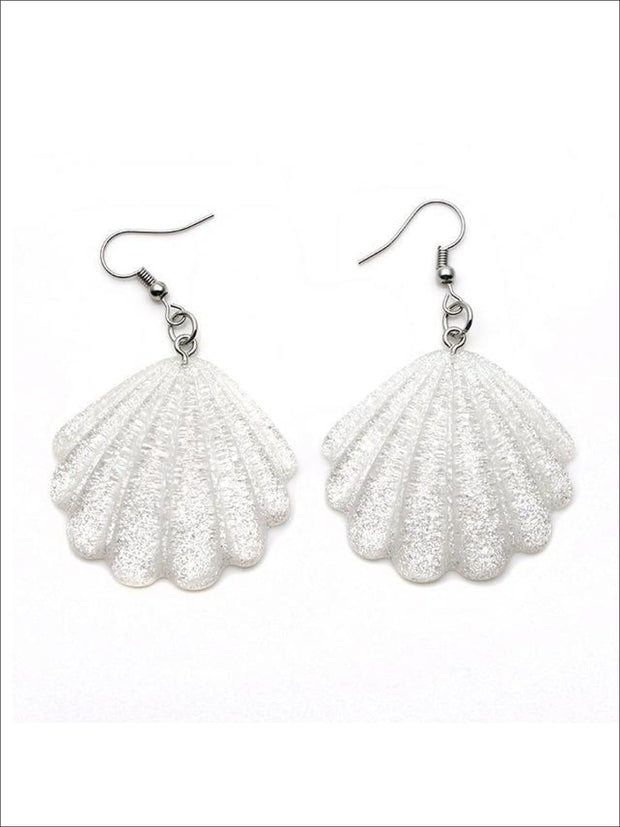 Girls Glittery Mermaid Seashell Earrings - White - Accessories