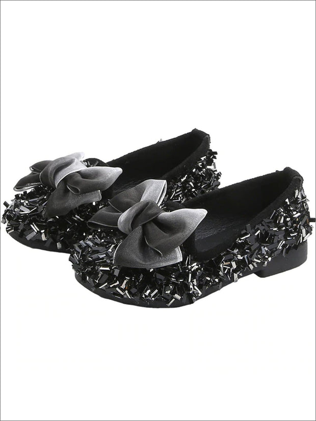 Girls Glittery Sequined Flats with Ombre Double Bow - Girls Loafers