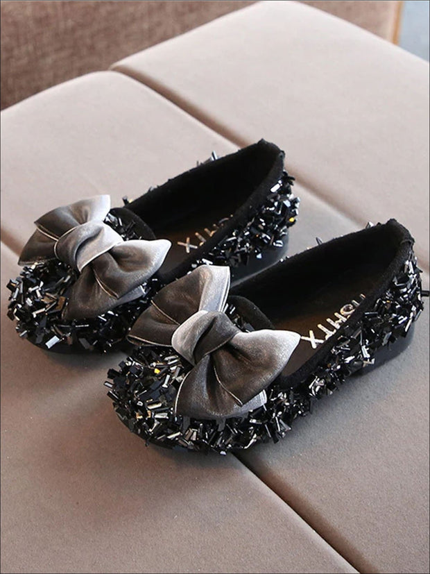 Girls Glittery Sequined Flats with Ombre Double Bow - Black / 5.5 - Girls Loafers