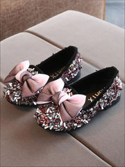 Girls Glittery Sequined Flats with Ombre Double Bow - Pink / 5.5 - Girls Loafers