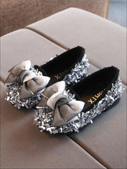 Girls Glittery Sequined Flats with Ombre Double Bow - Silver / 5.5 - Girls Loafers