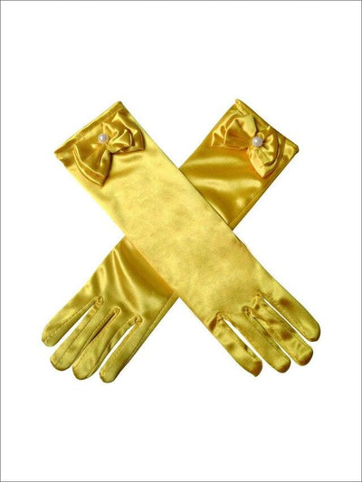 Girls Gold Belle Satin Dress Up Gloves - Yellow / One - Girls Halloween Costume