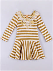 Girls Gold & Cream Stripe Drop Waist Dress - Fall Low Stock