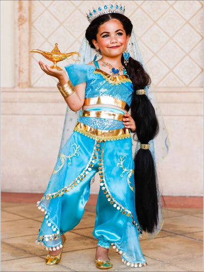 Girls Gold Embellished Satin Organza Aladdin Inspired Princess Jasmine Costume - Girls Halloween Costume