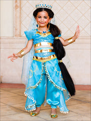 Girls Gold Embellished Satin Organza Aladdin Inspired Princess Jasmine Costume - Turquoise / 2T - Girls Halloween Costume