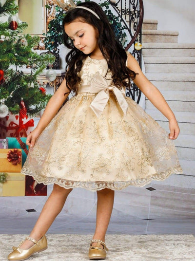 Girls Gold Embroidery Party Dress with Large Bow - Girls Fall Dressy Dress