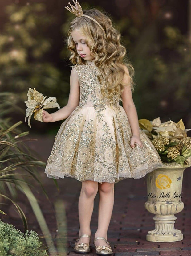 Girls Gold Glitter Embellished High-Neck Flared Holiday Special Occasion Dress - 12M / Beige - Girls Fall Dressy Dress