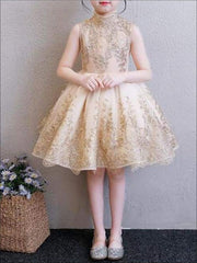Girls Gold Glitter Embellished High-Neck Flared Holiday Special Occasion Dress - Girls Fall Dressy Dress