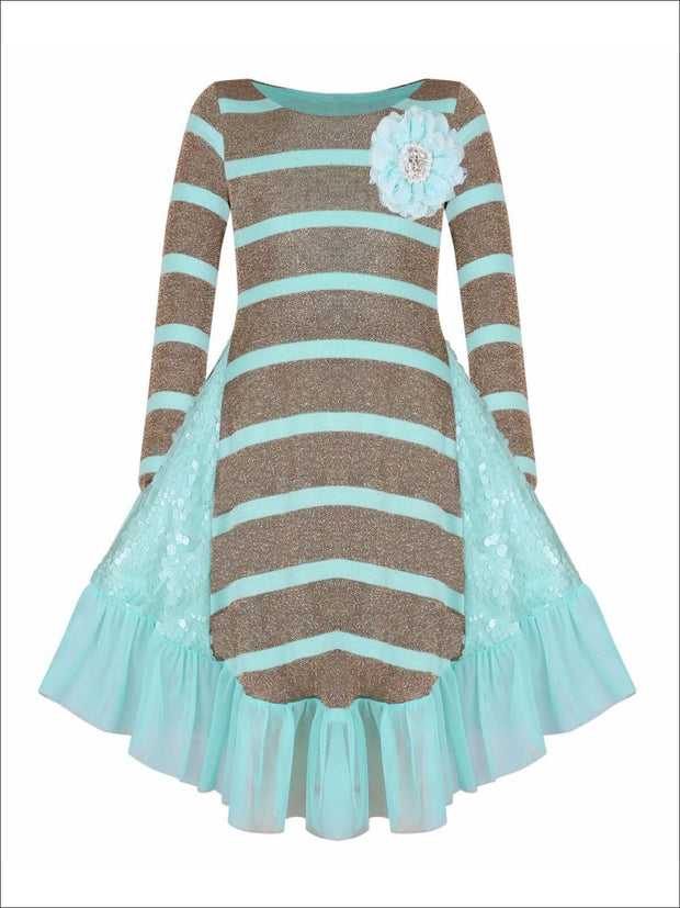 Girls Gold & Mint Long Sleeve Ruffle Pocket Dress - Fall Low Stock