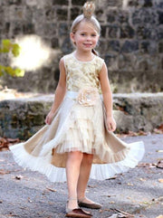 Girls Gold Overlay Ruffled Skirt with Flower Belt - Girls Spring Dressy Dress