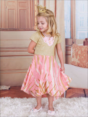 Girls Gold & Pink Short Sleeve Printed Dress with Sequin Flower Neck Detail - Girls Spring Dressy Dress