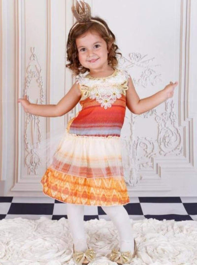 Girls Gold & Red Geometric Tiered Ruffle Dress - Fall Low Stock