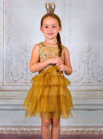 Girls Gold Sequin Ruffle-Tiered Dress - Fall Low Stock