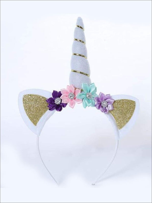 Girls Gold & Silver Glitter Flower Unicorn Headband - Hair Accessories