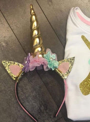 Girls Gold & Silver Magical Unicorn Headband - Gold - Girls Unicorn Headband