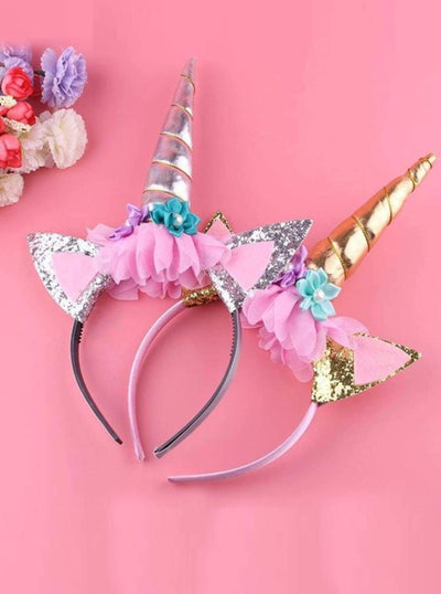 Girls Gold & Silver Magical Unicorn Headband - Girls Unicorn Headband