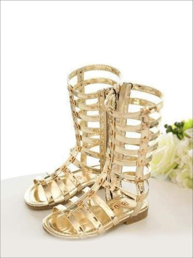 Girls Gold Star Gladiator Sandals - Gold / 1 - Girls Sandals