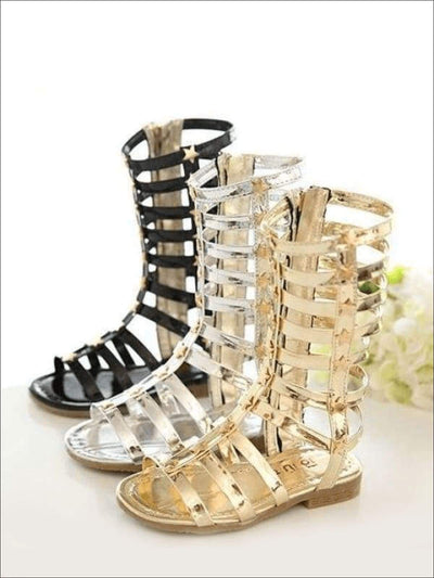 Girls Gold Star Gladiator Sandals - Girls Sandals