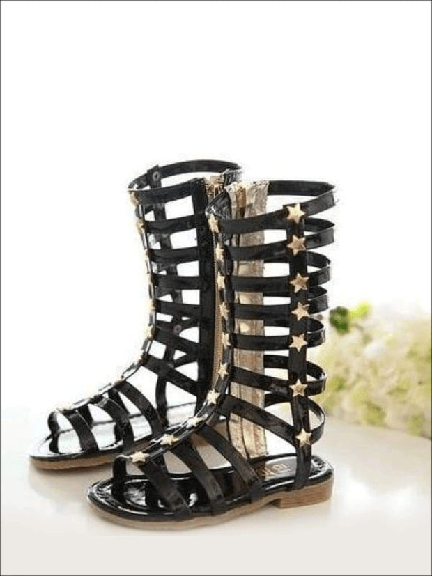 Girls Gold Star Gladiator Sandals - Black / 1 - Girls Sandals