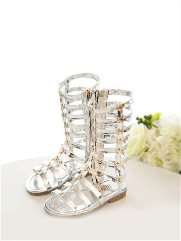 Girls Gold Star Gladiator Sandals - Silver / 1 - Girls Sandals