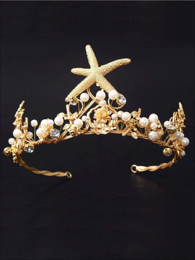 Girls Gold Starfish Pearl Crown - One Size - Hair Accessories