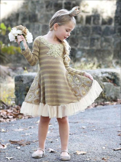 Girls Gold Stripe Long Sleeve Sequin Insert Dress - Girls Fall Dressy Dress