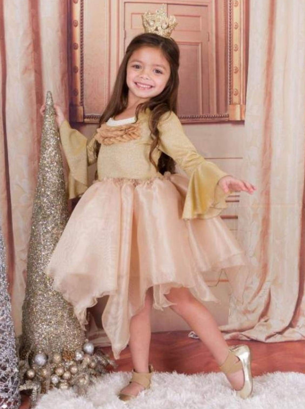 Girls Gold Tutu Princess Dress With Flared Sleeves & Pearl Collar Applique - Girls Fall Dressy Dress