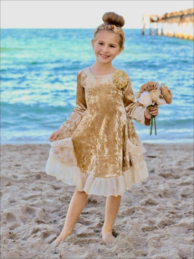 Girls Gold Velvet Princess Dress with Ruffled Pockets - Girls Fall Dressy Dress