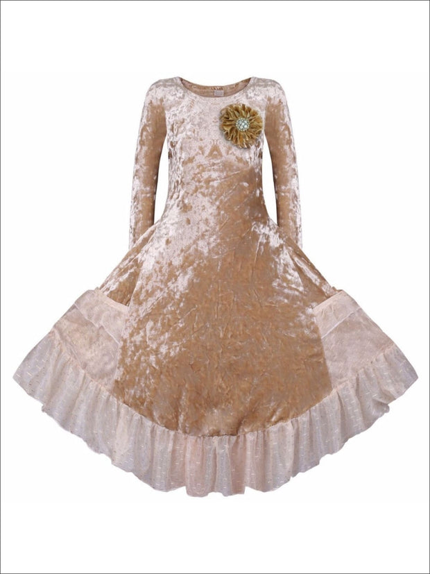 Girls Gold Velvet Princess Dress with Ruffled Pockets - Gold / 2T/3T - Girls Fall Dressy Dress