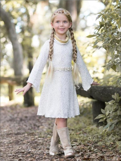 Girls Gold/Creme Turtleneck Sweater Dress w/ Wide Sleeves - Girls Fall Dress