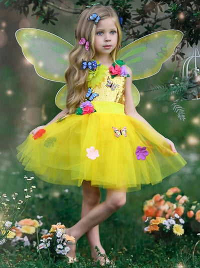 Girls Golden Butterfly Fairy Halloween Costume - 2T / Yellow - Girls Halloween Costume