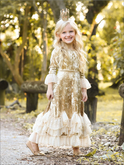 Girls Golden Velvet Princess Maxi Holiday Dress with Ruffled Waves - Girls Fall Dressy Dress