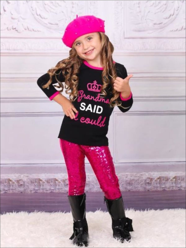 Girls Grandma Said I Could Top with Sequin Leggings Set - Fall Low Stock