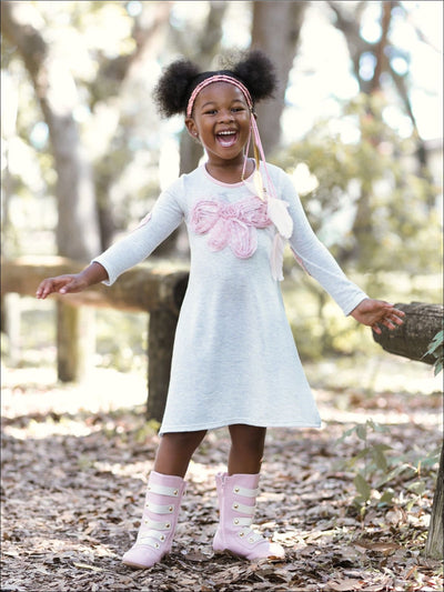 Girls Gray & Pink V Neck A Line Dress with Large Bow Applique - Grey / 2T/3T - Girls Fall Casual Dress