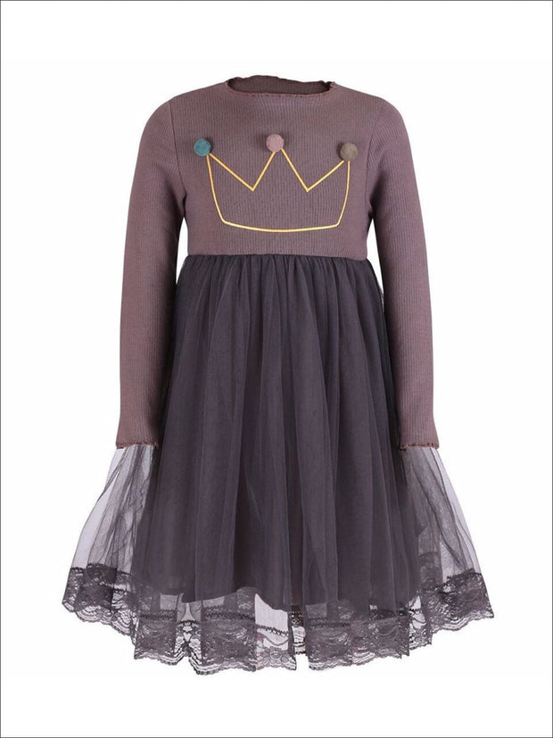 Girls Gray Pom Pom Crown Applique Lace Edge Dress - Girls Fall Casual Dress