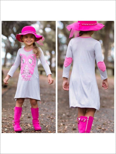 Girls Gray/Pink A-Line Dress w/ Applique & Heart Elbow Patch - Fall Low Stock