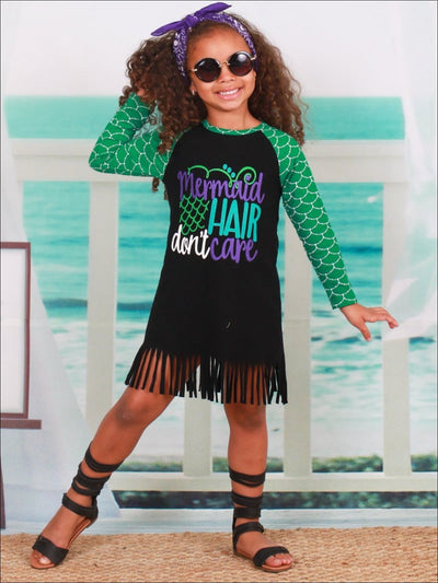 Girls Green & Black Mermaid Hair Dont Care Long Sleeve Fringe Dress - Girls Spring Casual Dress