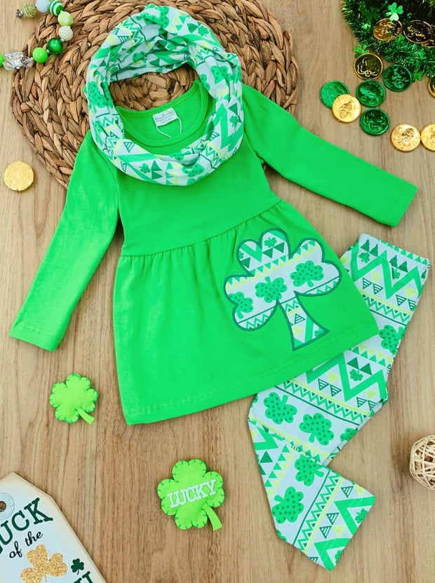 Girls Green St. Patricks Day Themed Geometric Clover Print Tunic Scarf & Leggings Set - Green / 3T - Girls St. Patricks Set