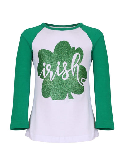 Girls Green & White St. Patricks Day Themed Long Sleeve Shiny Clover Top - Girls Spring Top
