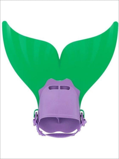 Girls Green/Purple Monofin for Mermaid Tail - Girls Monofin for Mermaid Tail