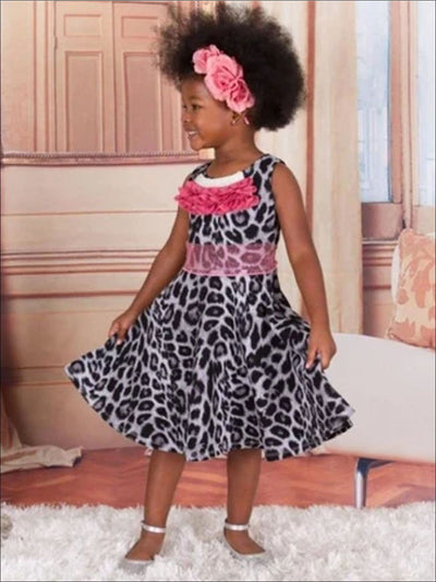Girls Grey Animal Print Skater Dress with Pearl Trim & Belt - Grey / 3T - Spring Low Stock