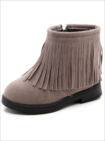 Girls Grey Bohemian Suede Fringe Ankle Boots - Girls Boots
