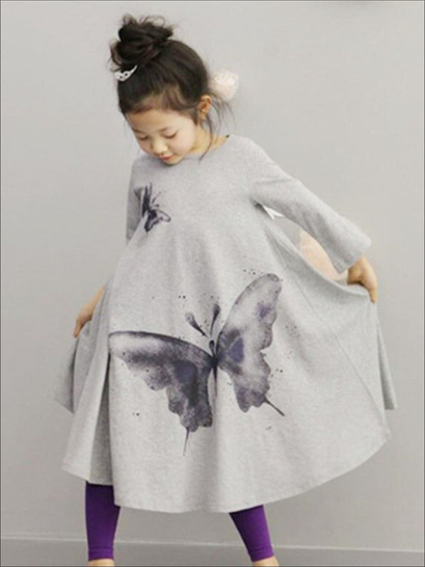 Girls Grey Butterfly Print Dress - Girls Fall Casual Dress
