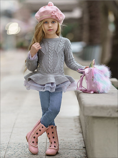Girls Grey Chunky Knit Tutu Peplum Sweater - Girls Sweater