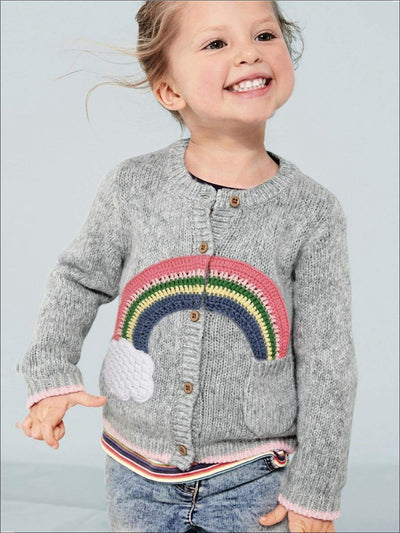 Girls Grey Embroidered Rainbow Cardigan with Front Pocket - Grey / 3T - Girls Sweater