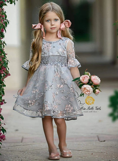 Girls Grey Half Sleeve Flower Embroidered Ruffled Party Dress - gray / 3T - Girls Spring Dressy Dress