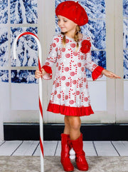 Girls Grey & Red Candy Cane Ruffled Hem and Sleeve Dress - Girls Christmas Dress